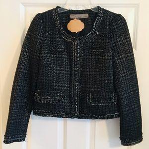 Zara Cropped Metallic Houndstooth Jacket